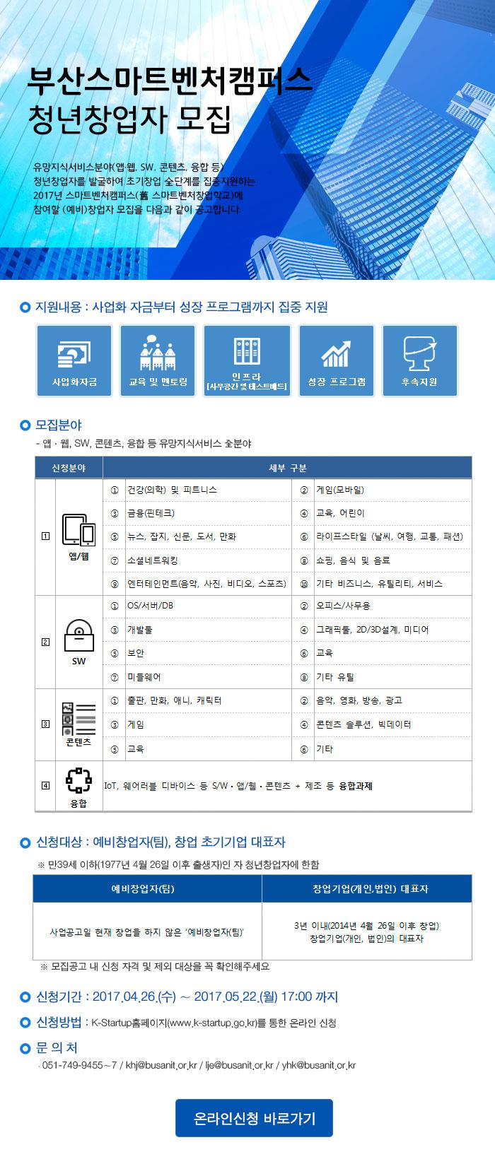 2017년 스마트벤처캠퍼스(예비)청년창업자 모집 공고