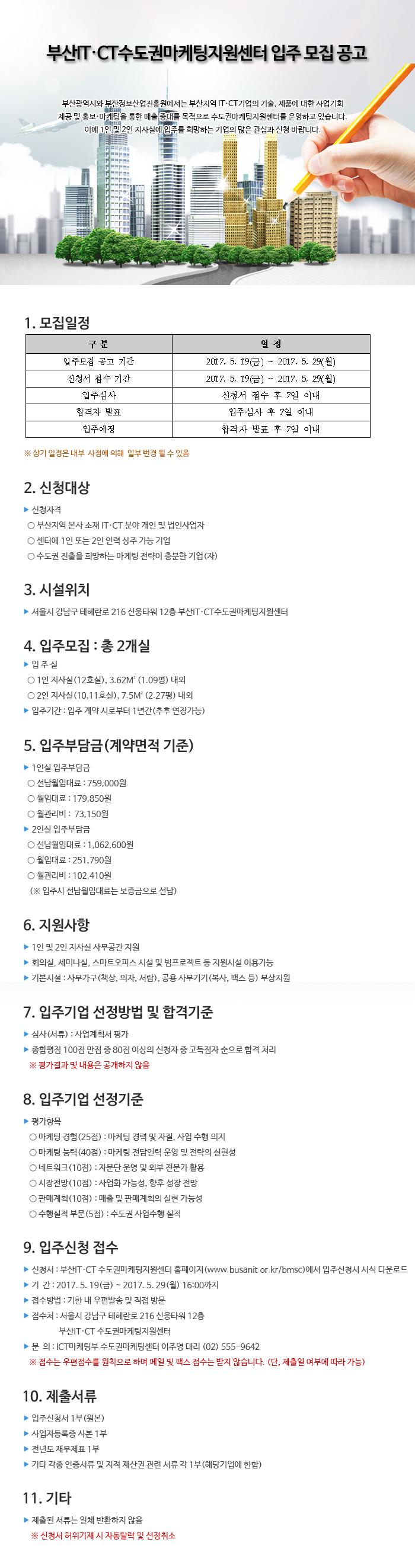 2017년 부산IT·CT수도권마케팅지원센터 3차 입주공고문