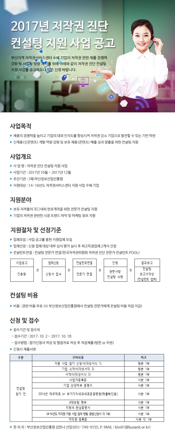 2017년 저작권 진단 컨설팅 지원 사업 공고