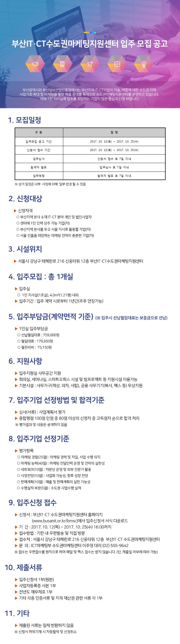 부산IT·CT수도권마케팅지원센터 6차 입주 모집 공고