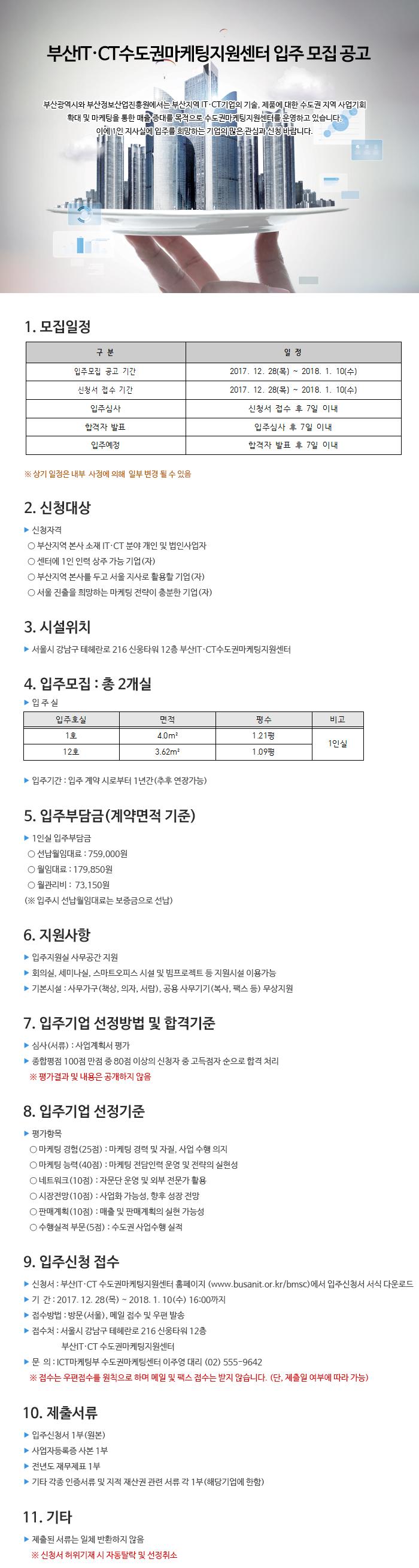 2017년 부산IT·CT수도권마케팅지원센터 8차 입주공고