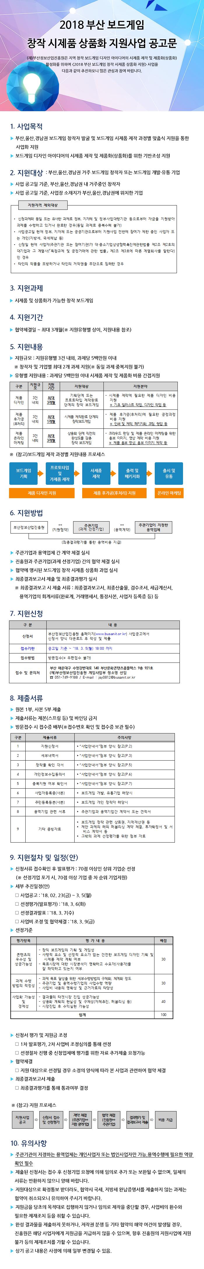 2018 부산 보드게임 창작 시제품 상품화 지원사업 공고