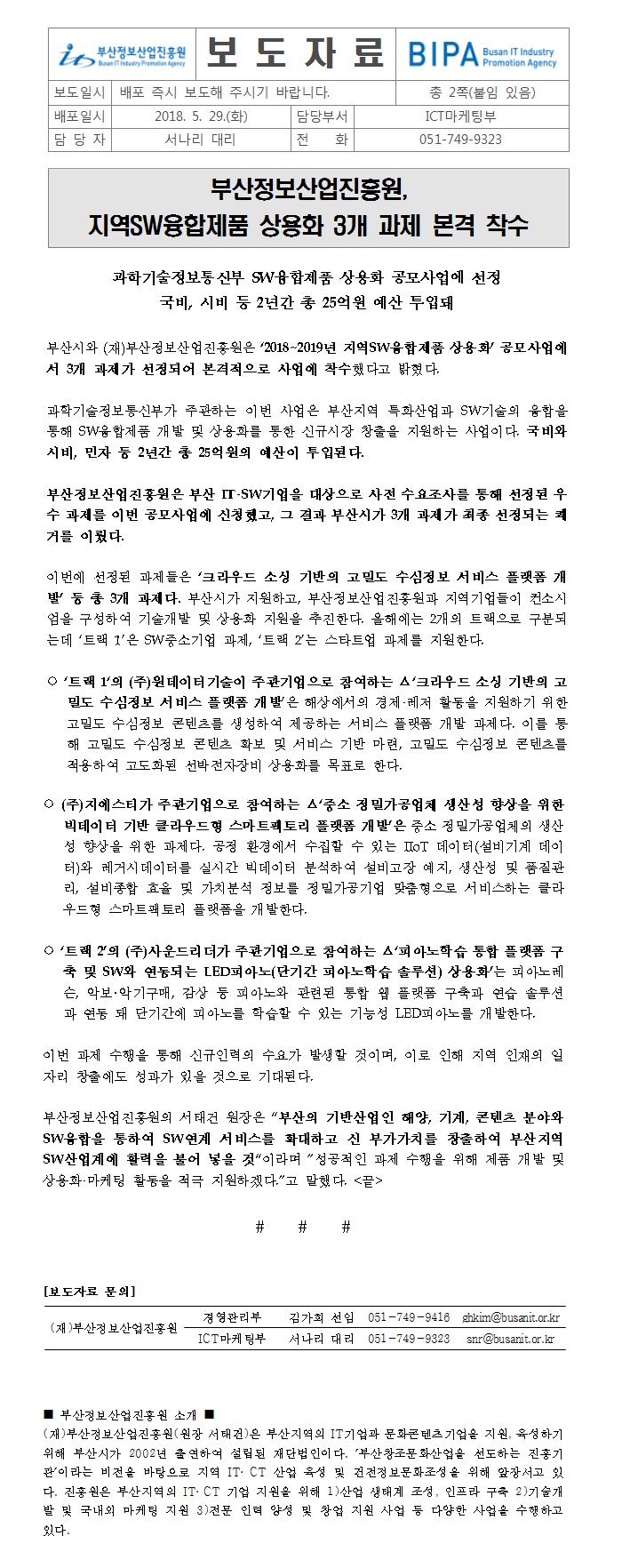 부산정보산업진흥원. 지역SW융합제품 상용화 3개 과제 본격 착수