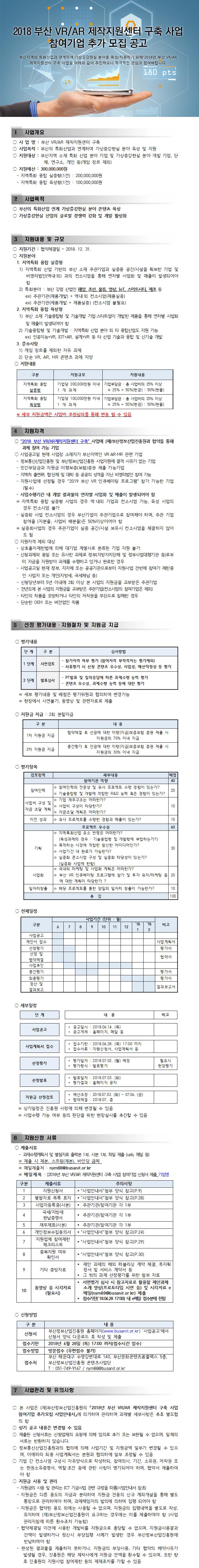 부산 VR/AR 제작지원센터 구축 사업 참여기업 추가모집