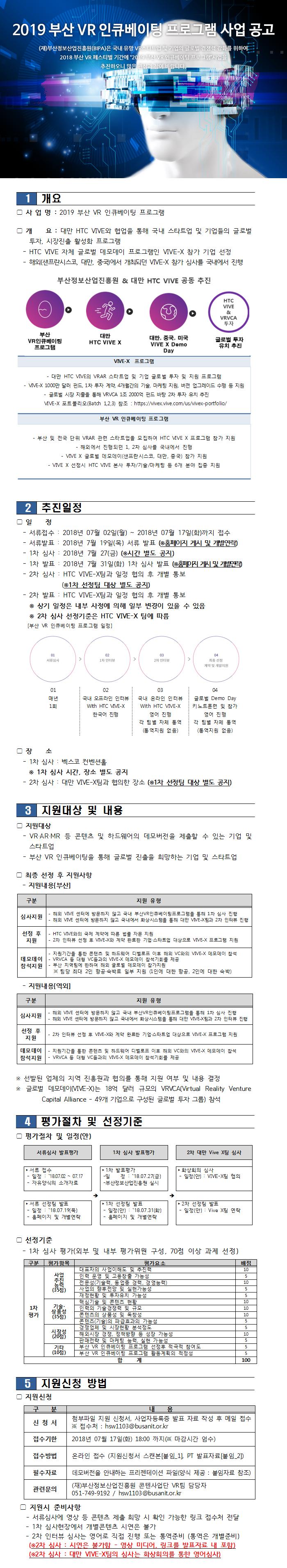 2019 부산 VR 인큐베이팅 프로그램 사업 공고