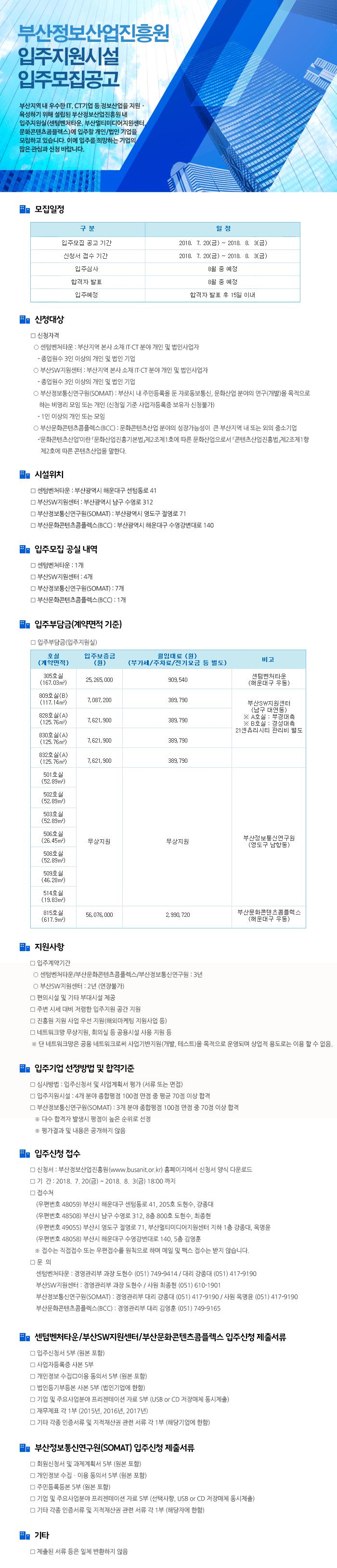 2018년 부산정보산업진흥원 입주모집 공고 (4차)