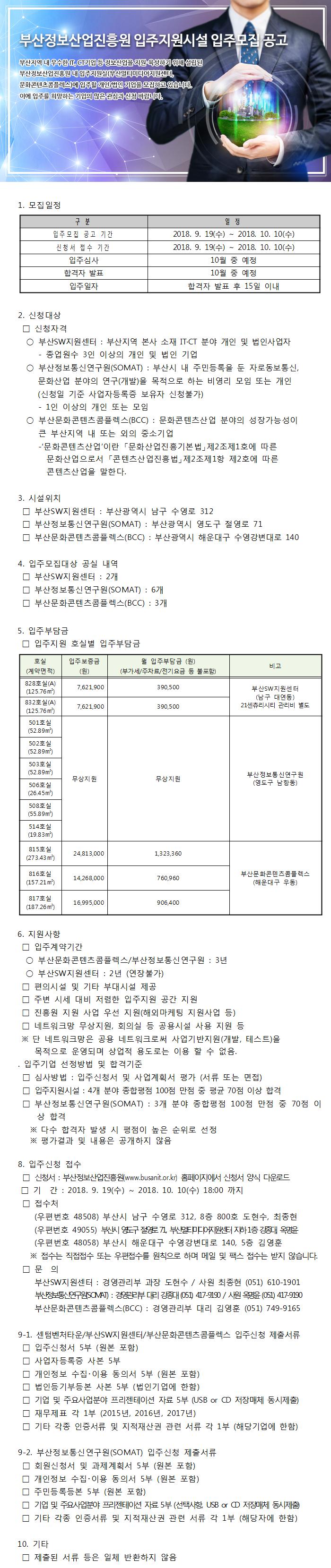 부산정보산업진흥원 입주지원시설 입주모집 공고