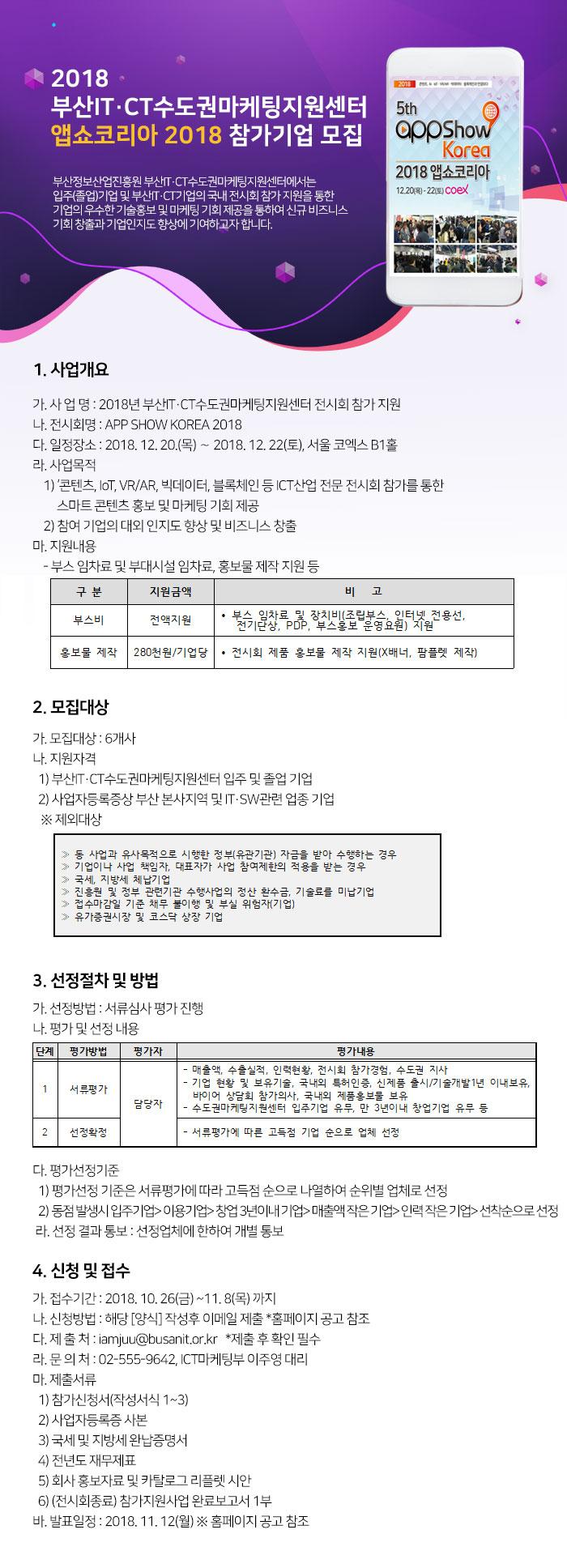2018 부산IT·CT수도권마케팅지원센터 앱쇼코리아 2018 참가기업 모집