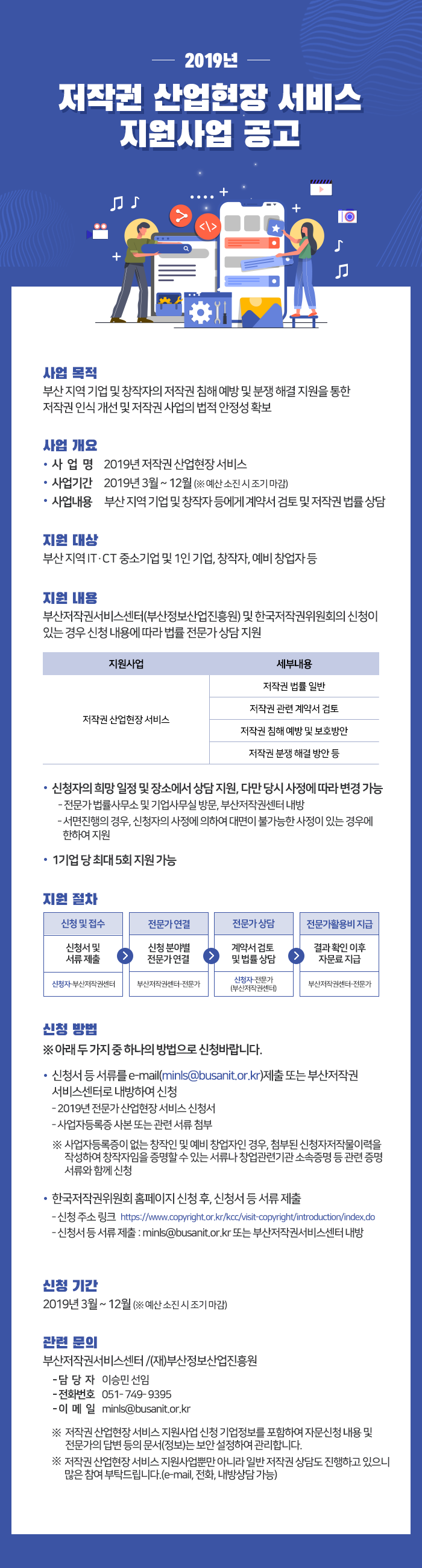 2019년 저작권 산업현장 서비스 지원사업 공고
