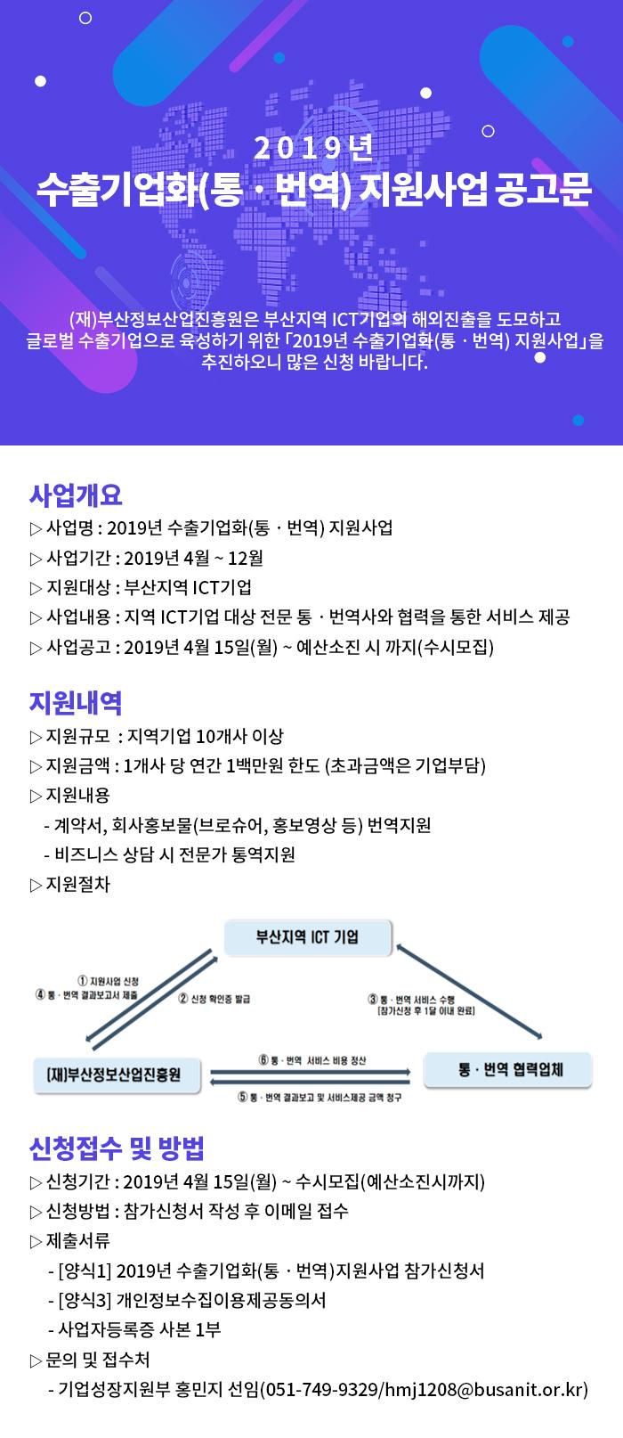 2019년 수출화기업화(통•번역) 지원사업공고문
