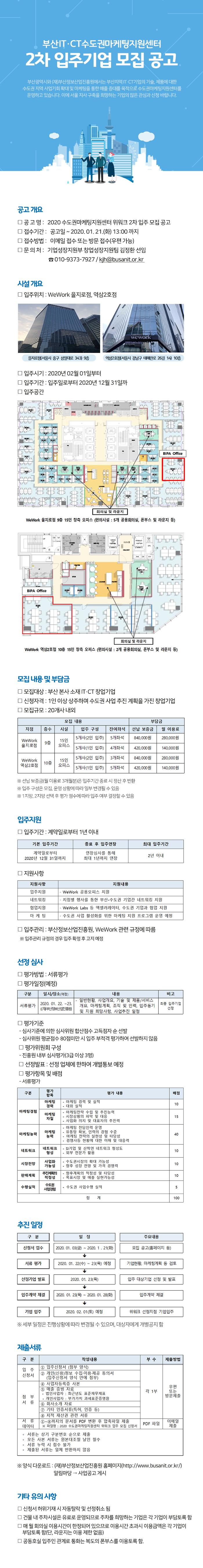 부산IT·CT수도권마케팅지원센터 위워크 2차 입주공고 안내