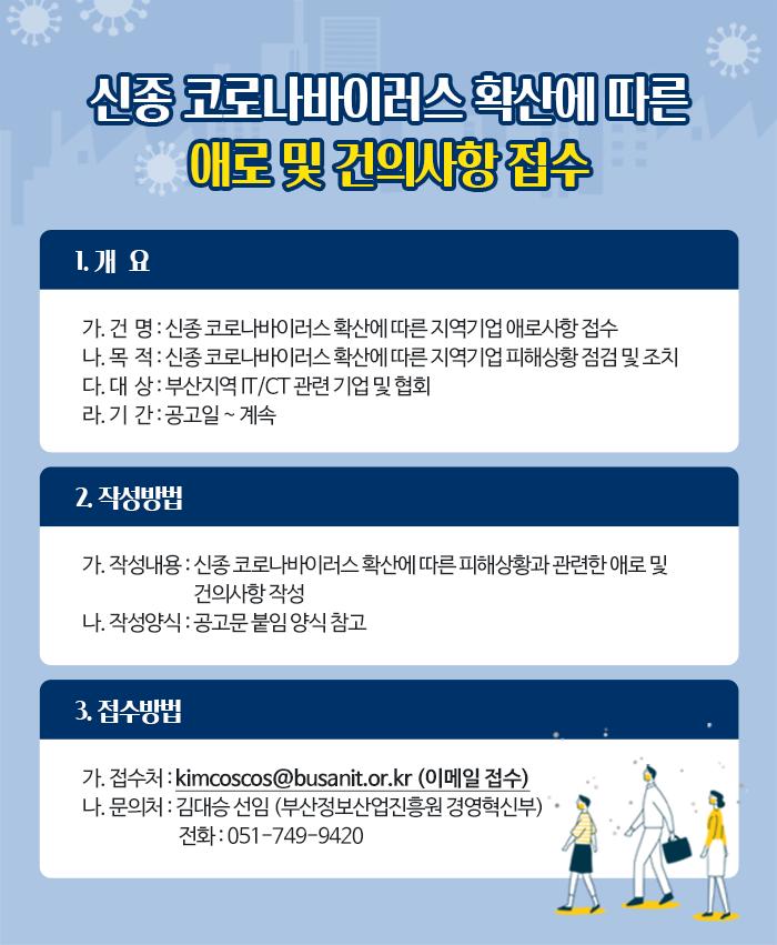 신종 코로나바이러스 확산에 따른 지역기업 애로사항 접수