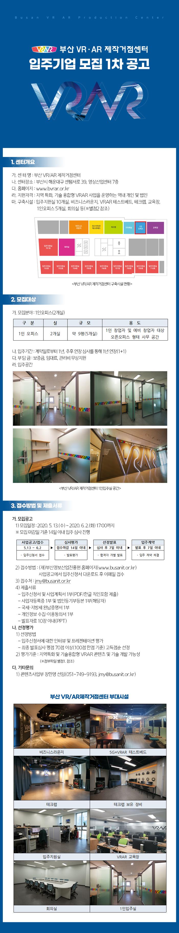 2020년 부산 VR/AR제작거점센터 입주기업 모집 1차 공고