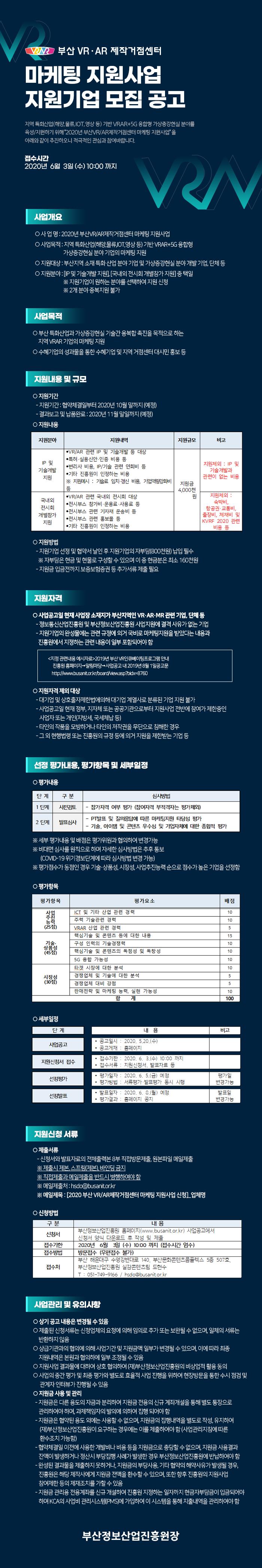2020년 부산 VR/AR제작거점센터 마케팅 지원사업 지원기업 모집 공고