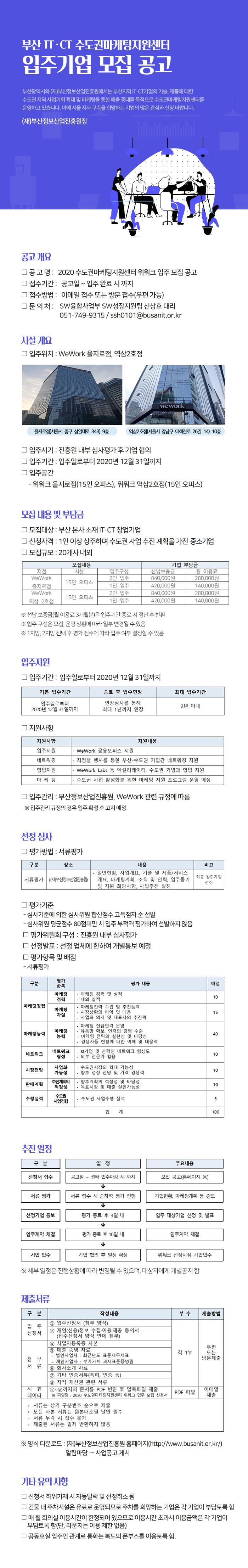 부산IT·CT수도권마케팅지원센터 입주신청