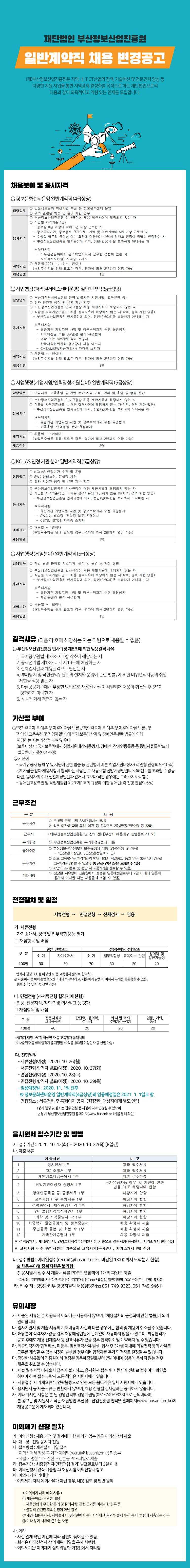 (재)부산정보산업진흥원 일반계약직 채용 변경공고
