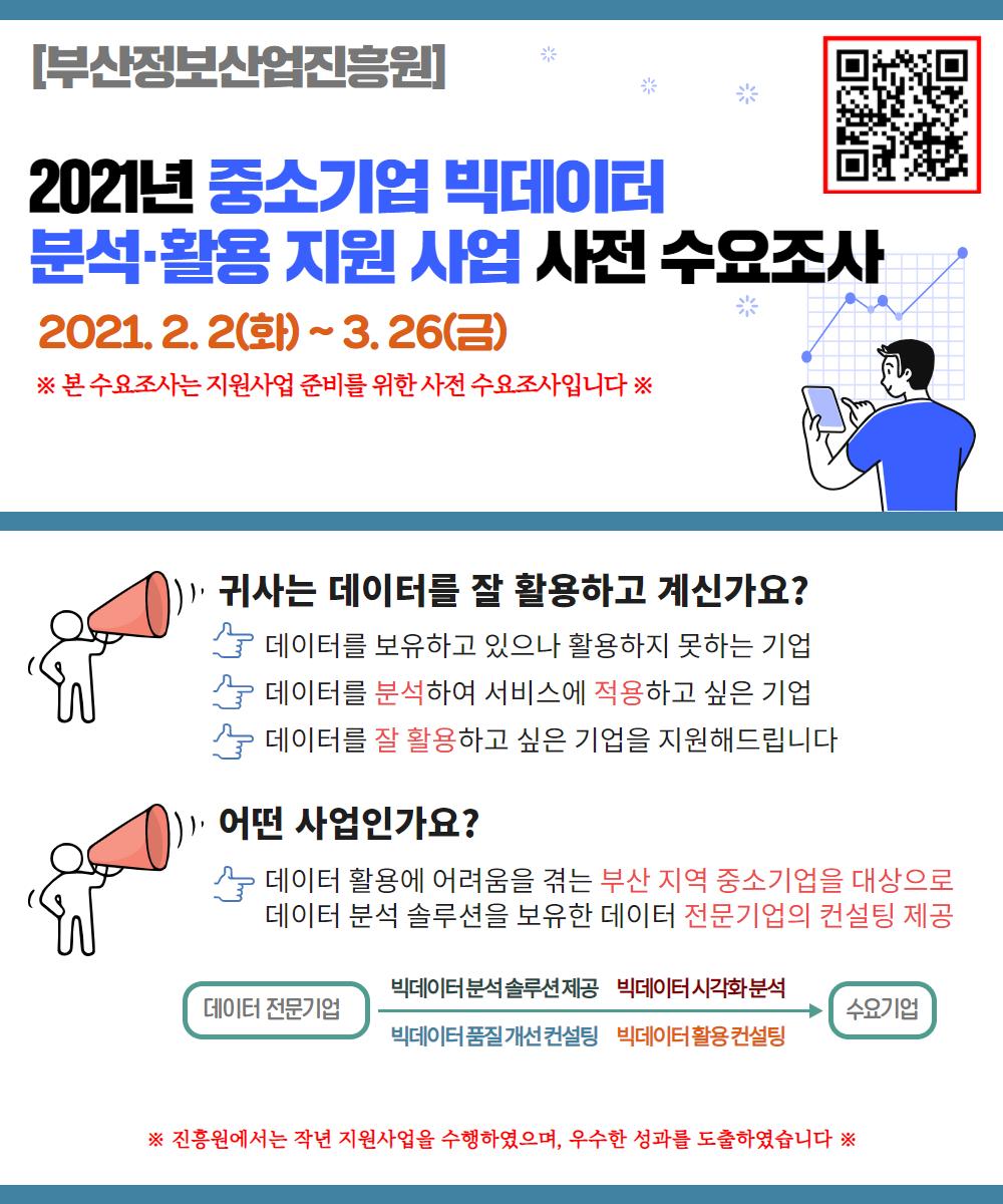 [2021년 중소기업 빅데이터 분석활용 지원사업] 사전 수요조사 (~3.26)