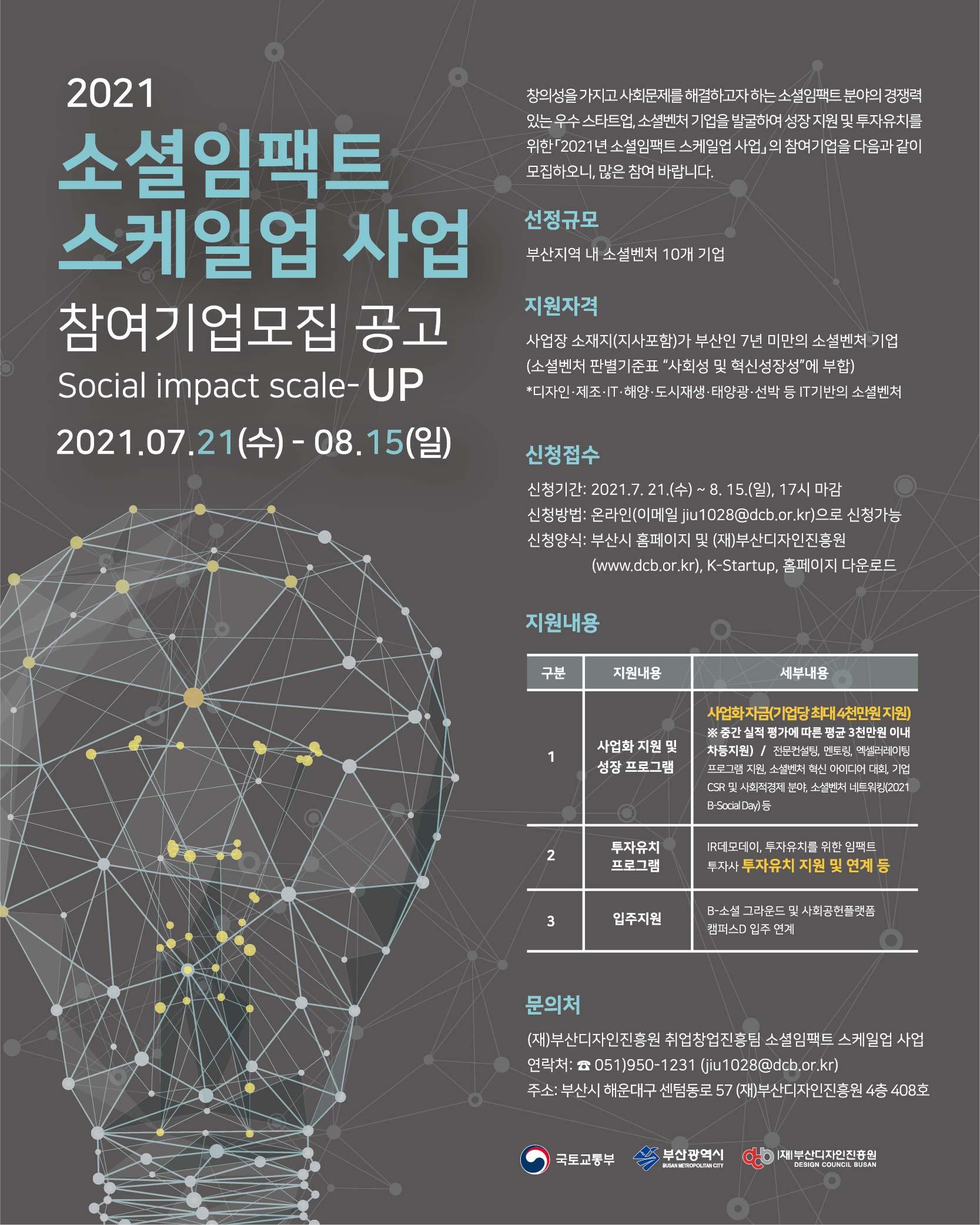 [부산디자인진흥원] 2021년 소셜임팩트 스케일업 사업 참여기업 모집