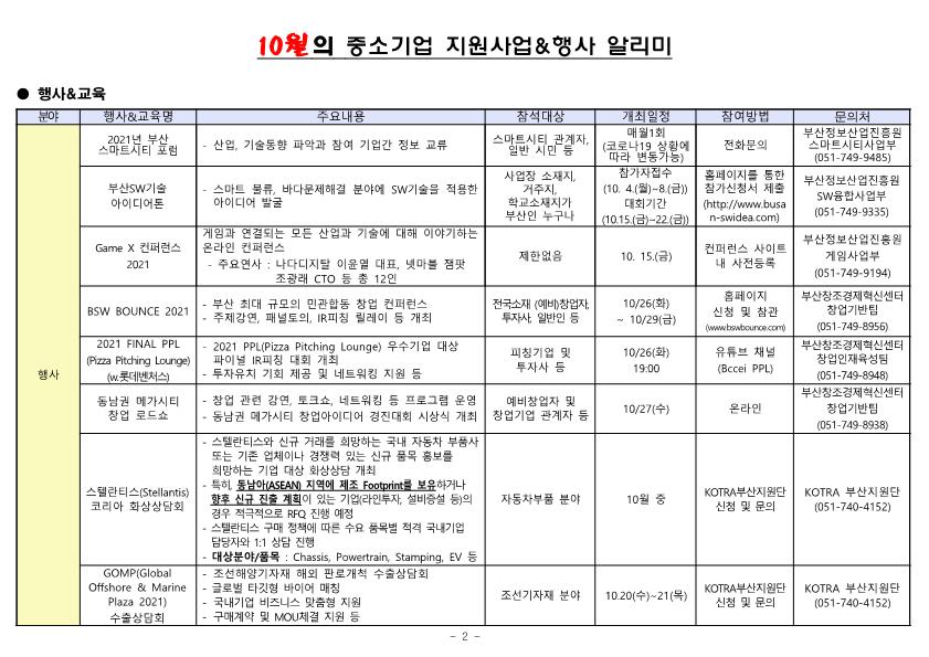 [중소기업지원기관협의회] 10월 중소기업 지원사업&행사표
